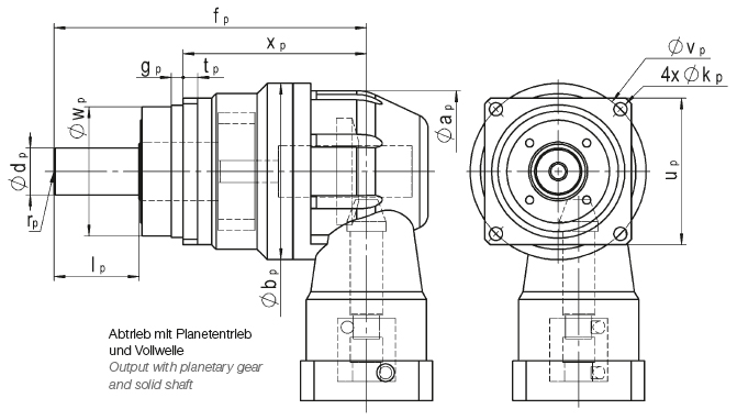 Output with planetary gear and solid shaft