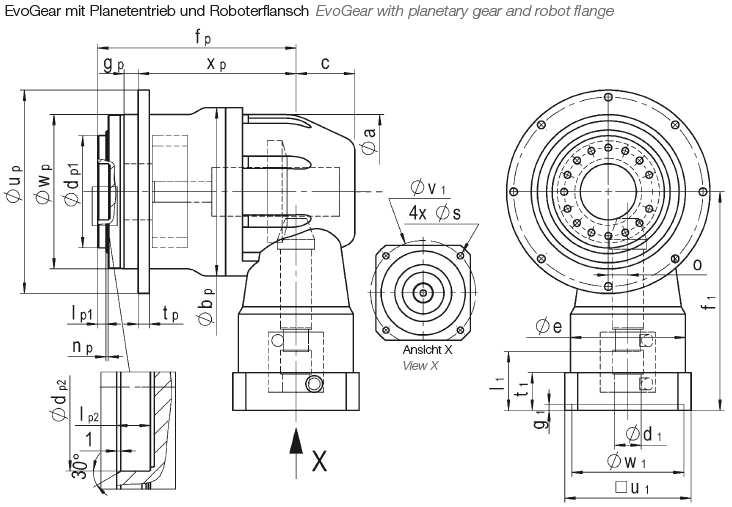 EvoGear with planetary gear and robot flange