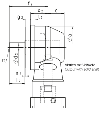 Output with solid shaft