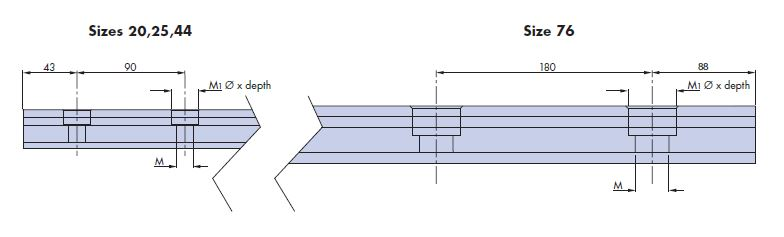Slide hole centres drawing