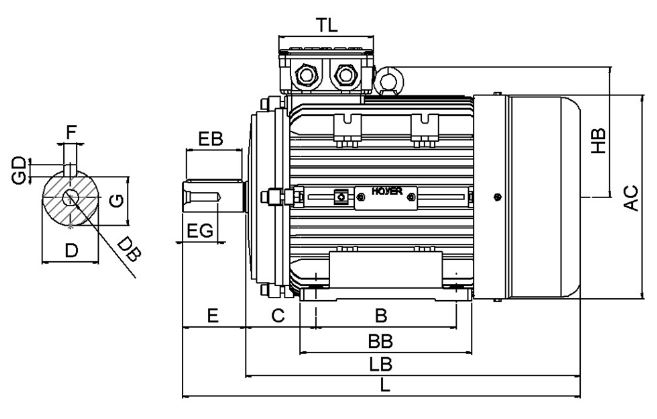 Dimensional Drawing - IE3 Electric Motor - Front