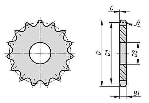 Norelem Free Cad Models 22264 Sprockets Single 5 8 X 3 8 Din Iso 606 Traceparts
