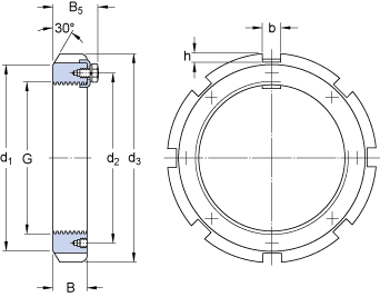 Dimensions : lock nut type HM