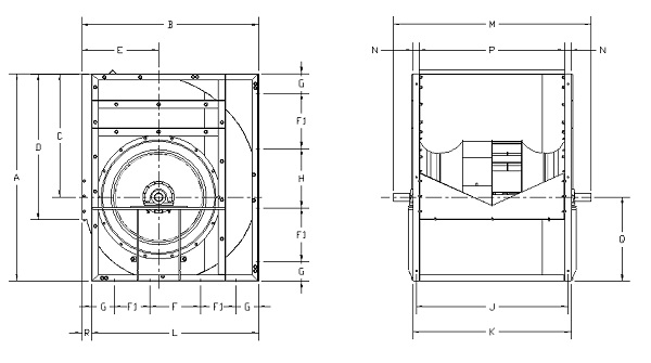 Technical drawing (Models from 250 to 710 and 1250 to 1400)