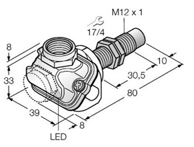 Dimensional drawing - M12_NI10U-EM12WDTC-AP6X