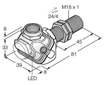 Dimensional drawing - M18_BI8U-EM18WDTC-AP6X