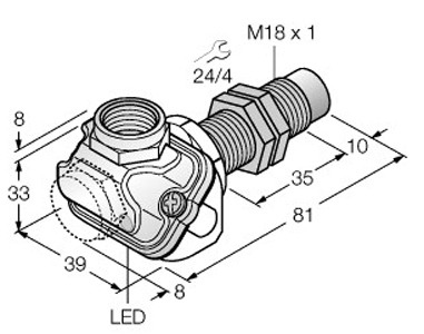 Dimensional drawing - M18_NI15U-EM18WDTC-AP6X