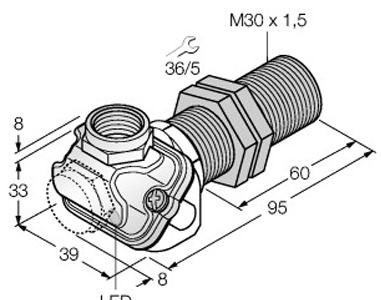 Dimensional drawing - M30_BI15U-EM30WDTC-AP6X