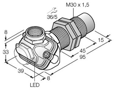 Dimensional drawing - M30_NI30U-EM30WDTC-AP6X