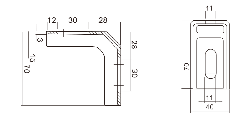Technical drawing for bracket